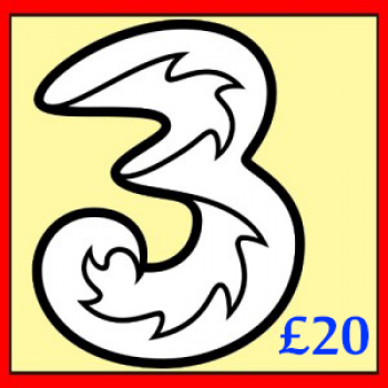 £20 3 (Three) Mobile Top up Voucher Code