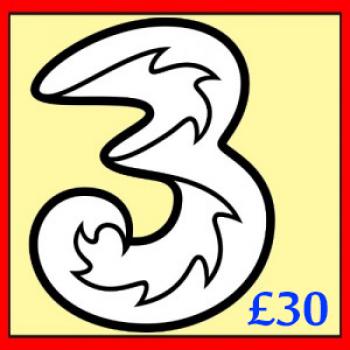£30 3 (Three) Mobile Top up Voucher Code