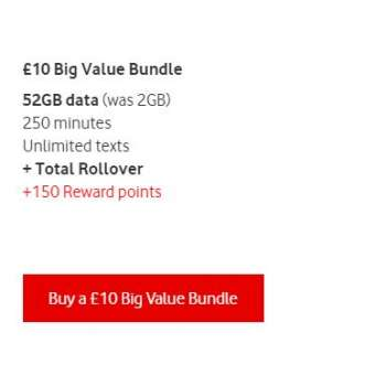 £10 Vodafone Mobile Top Up Voucher Code