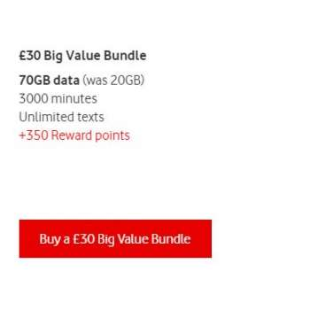£30 Vodafone Mobile Top Up Voucher Code